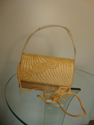 Tasche gelb mit Perlengriff NEU ohne Etikett