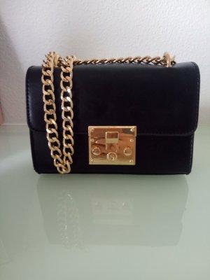 Tasche Gold Umhängetasche Handtasche Schwarz Blogger Klassik