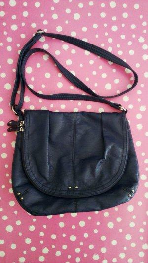 Tasche H&M blau mit Innentaschen Druckknopf und Reißverschluss