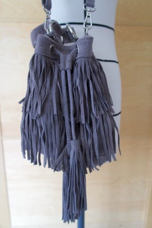 Hallhuber Fringed Bag grey-silver-colored leather