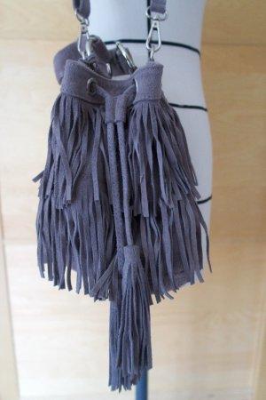 Tasche Handtasche Hallhuber grau Leder Fransen Boho Hippie Fransentasche Beuteltasche