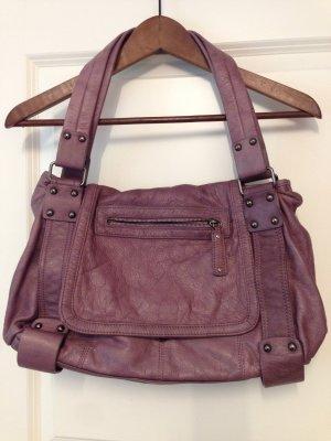 Tasche Handtasche Leder Mauve neuwertig
