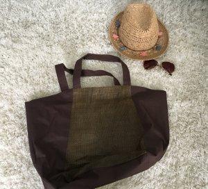 Tasche Handtasche Strandtasche Strand braun gold Sommer Strand Urlaub