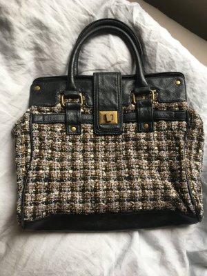 Tasche im Chanel Look von Benetton Boucle Tweed Muster schwarz Leder