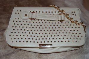 Stradivarius Carry Bag cream-gold-colored imitation leather