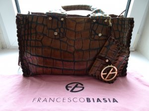Francesco Biasia Carry Bag brown-dark green leather