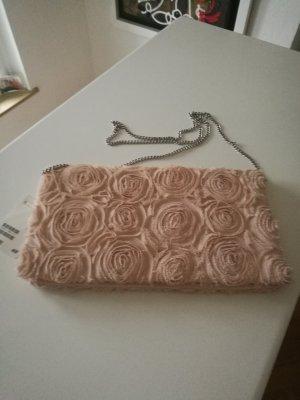 Tasche in rosè aus Tüllstoff mit Rosenmuster, Neu, OV