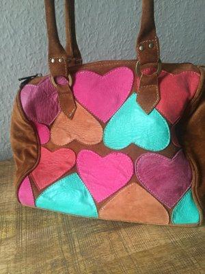 Handbag cognac-coloured-turquoise