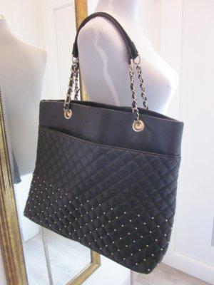 Tasche Leder Schwarz mit Gold Shopper Groß