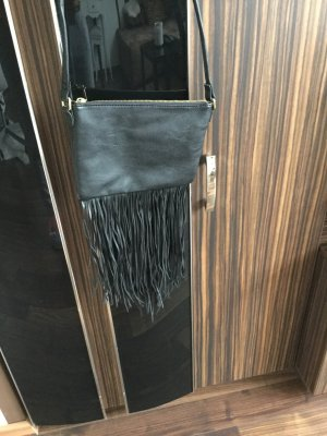 Tas met franjes zwart