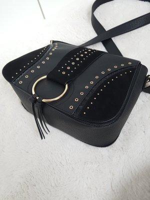 Tasche mit Nieten und Ring, Saddlebag, schwarz/gold