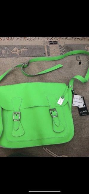 Tasche neu echtes Leder neon grün von L.Credi