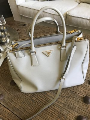 Prada Carry Bag silver-colored leather