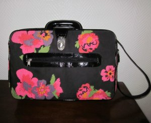 Tasche Reisekoffer Weekender Tragegurt Henkel Reisetasche Blumen schwarz pink