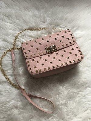 Tasche rosa mit goldenen Nieten abendtasche Umhängetasche