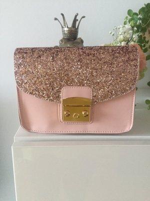 Tasche rosa nude Glitzer Gold neu