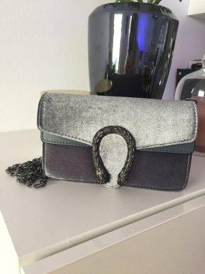 Tasche samt grau Silber neu