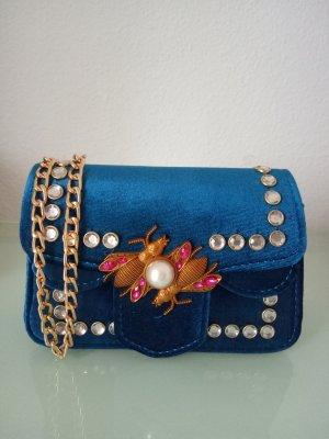 Tasche Samt Perlen Strass Blau Gold Brosche Biene Käfer Türkis Umhängetasche clutch