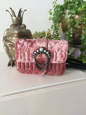 Tasche samt rosa Perlen Silber NEU
