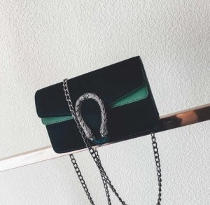 Tasche samt Velvet dunkelgrün grün Silber neu