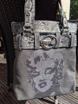 Tasche schultertasche Shopper Marilyn Monroe Glitzer schwarz silber Schlangen Look Tasche