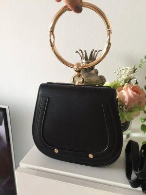 Tasche schwarz mit goldenem Ring Neu