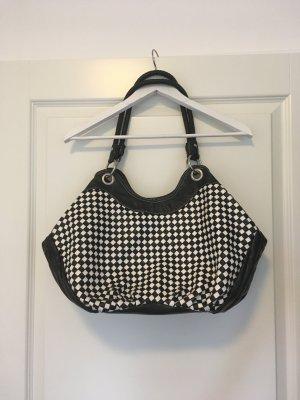 Shoulder Bag black-white imitation leather