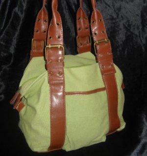 Tasche Shopper Bag Handtasche h m oliv grün braune Henkel Schnallen