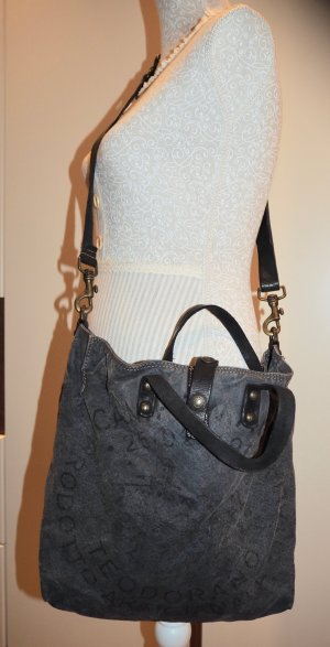 Tasche Shopper Campomaggi Blau schwarz