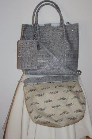 Tasche, Shopper, in Grau, Leder