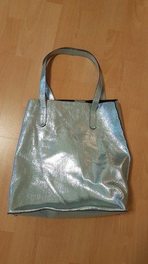 Tasche Shopper Schultertasche Handtasche metallic blau tiffany Blogger