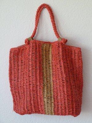 Tasche - sommerliche Bast-Tasche - Strand-Tasche - Zara - rot -