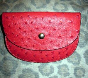 Tasche Täschchen Clutch Leder rot hellrot Prägung Kosmetik Schmuck Geldbörse NEU