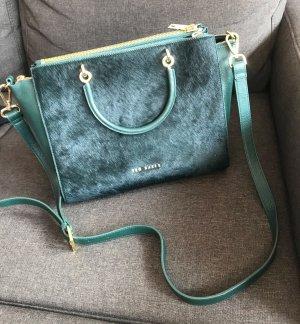 Tasche Ted Baker Handtasche Handtasche grün mit Fell Business Büro Office