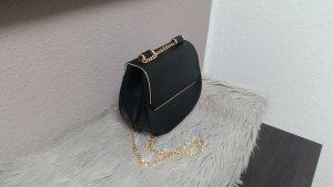 Tasche Umhängetasche Clutch Schwarz Gold Kette C&A Neu
