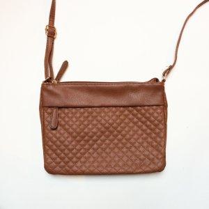 Tasche | Umhängetasche | Kunstleder | braun | klein | Bestickung