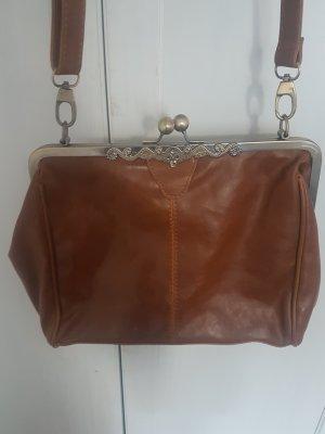 Tasche, vintage Look , braun, gold