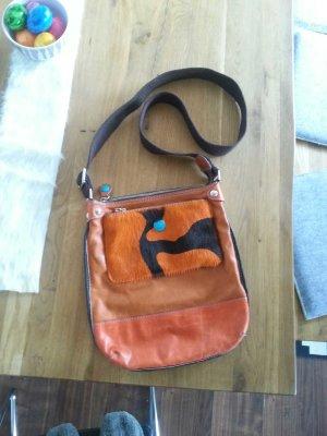 Tasche von Gabs, Leder, orange mit Fell