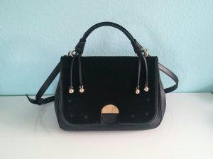 Zara Handbag black-gold-colored leather