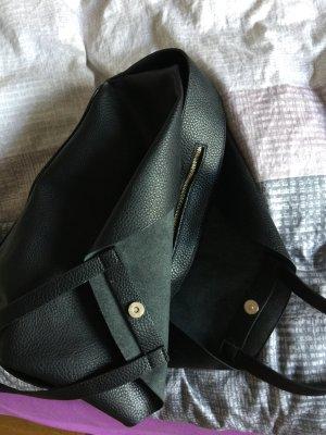 Tasche zara schwarz wie neu Leder groß mit Reissverschluss