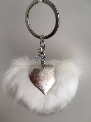 Key Chain natural white-silver-colored