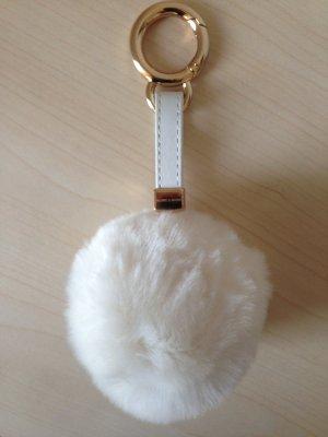 Taschenanhänger-Bommel beige/gold
