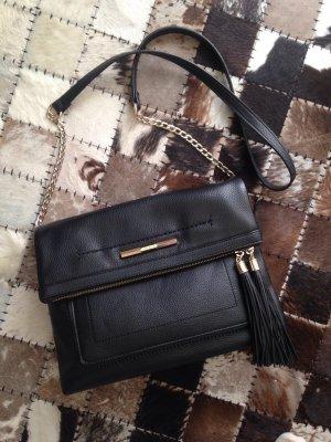 Tassel-Bag in schwarz mit goldenen Details