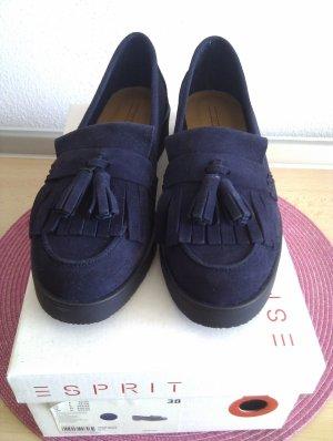 Tassel-Loafer aus Leder mit Haferllasche - navy - neu