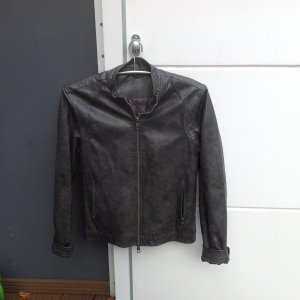 Faux Leather Jacket grey brown imitation leather