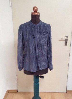 Taubenblaue Bluse Custommade silber Seide