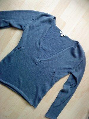 Basefield V-Neck Sweater steel blue cotton