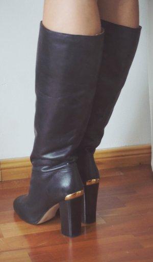 Taupage Luxus Echtleder elegante Stiefel schwarz gold Premium Stiefelette  39