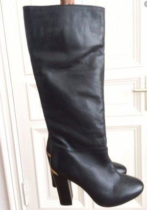 Taupage Luxus Echtleder Leder elegante Stiefel schwarz gold 39