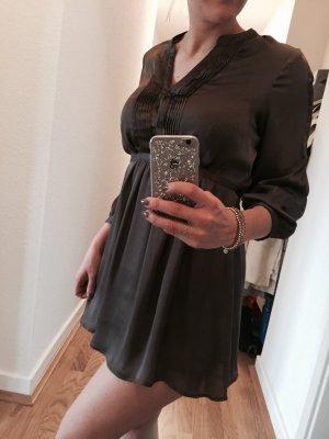 Taupe farbene lange Bluse / Kleidchen in Satin